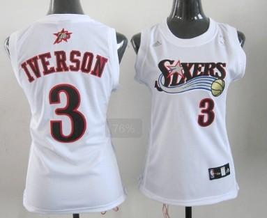 Philadelphia 76ers #3 Allen Iverson White Womens Jersey