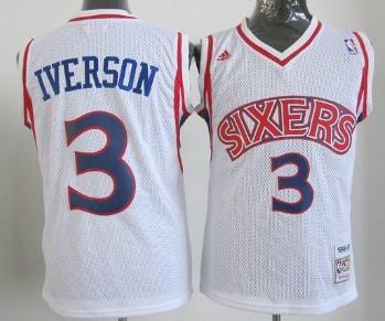 Philadelphia Sixers #3 Allen Iverson White Swingman Throwback Kids Jersey