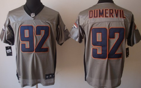 wholesale dealer 8ddbf f6a2d Nike Denver Broncos  92 Elvis Dumervil Gray Shadow Elite Jersey