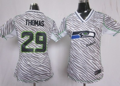 separation shoes 4266e 40fb2 Nike Seattle Seahawks #29 Earl Thomas 2012 Womens Zebra ...