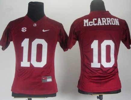 Alabama Crimson Tide #10 A.J. McCarron Red Womens Jersey