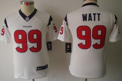 check out 0f9db 288b0 Nike Houston Texans #99 J.J. Watt White Limited Kids Jersey ...