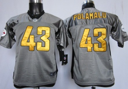 Troy Polamalu Gray Shadow Kids Jersey