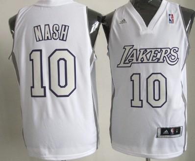 Los Angeles Lakers  10 Steve Nash Revolution 30 Swingman White Big Color  Jersey 9e6cf53a6