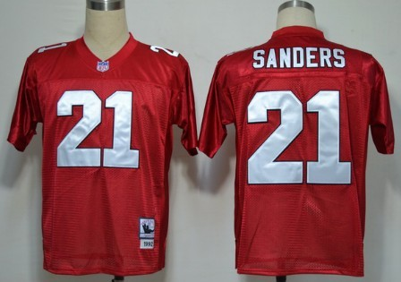 sneakers for cheap d57df 545b7 Atlanta Falcons #21 Deion Sanders Red Throwback Jersey on ...