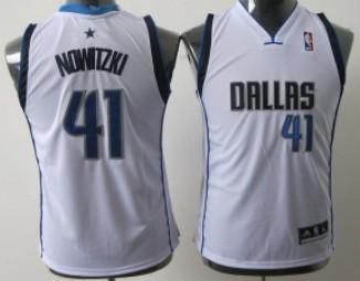 Dallas Mavericks #41 Dirk Nowitzki White Kids Jersey