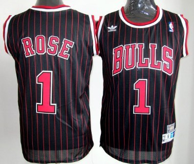 size 40 9357f 79be6 Chicago Bulls #1 Derrick Rose Black Pinstripe Throwback ...