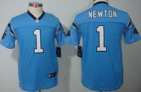 huge discount 6d486 32638 Nike Carolina Panthers #1 Cam Newton Light Blue Limited Kids ...