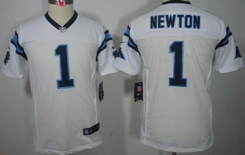 super popular 78a2f 03762 Nike Carolina Panthers #1 Cam Newton White Limited Kids ...