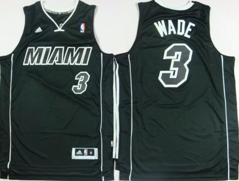detailed look cc5b0 162ce Miami Heat #3 Dwyane Wade Revolution 30 Swingman All Black ...