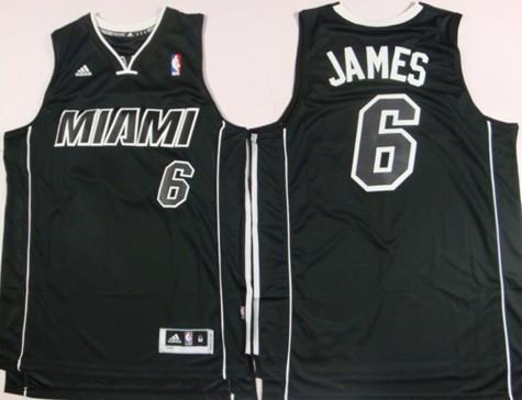 new style 3f180 fbf0e Miami Heat #6 LeBron James Revolution 30 Swingman All Black ...