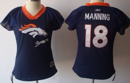 Denver Broncos #18 Peyton Manning 2011 Blue Womens Field Flirt Fashion Jersey
