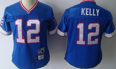 Buffalo Bills #12 Jim Kelly Blue Throwback Womens Jersey