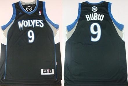 0248e405de5 Minnesota Timberwolves  9 Ricky Rubio Revolution 30 Swingman Black Jersey