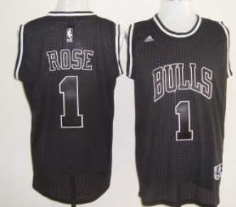 best service 58efb b07a0 Chicago Bulls #1 Derrick Rose All Black With White Swingman ...
