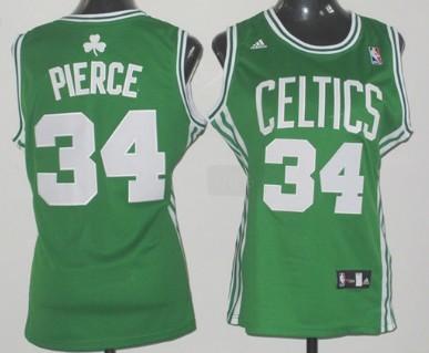 Boston Celtics #34 Paul Pierce White Green Womens Jersey