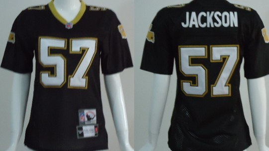 New Orleans Saints #57 Rickey Jackson Black Throwback Womens Jersey