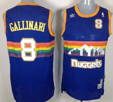 Denver Nuggets  8 Danilo Gallinari Blue Rainbow Swingman Throwback Jersey 9f1c5322d