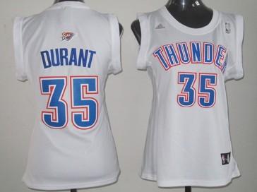Oklahoma City Thunder #35 Kevin Durant White Womens Jersey