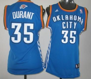 Oklahoma City Thunder #35 Kevin Durant Blue Womens Jersey