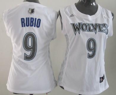 Minnesota Timberwolves #9 Ricky Rubio White Womens Jersey