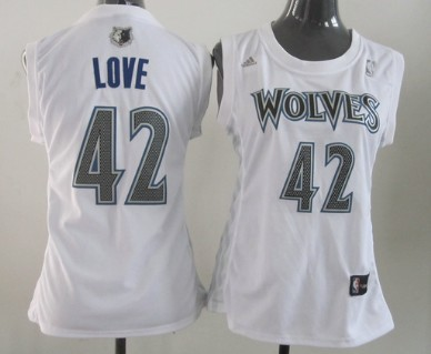 Minnesota Timberwolves #42 Kevin Love White Womens Jersey