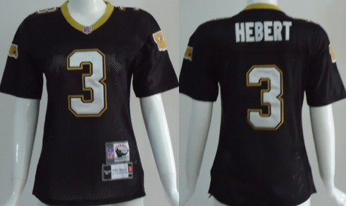 New Orleans Saints #3 Bobby Hebert Black Throwback Womens Jersey