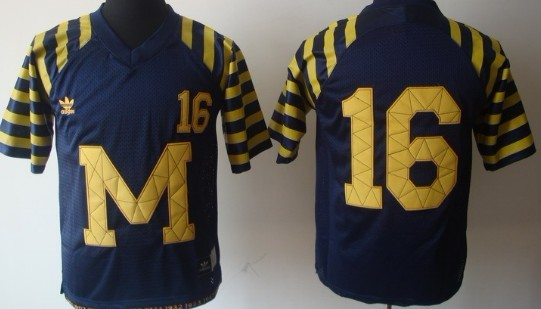 online store 6cfac 9680b Michigan Wolverines #16 Denard Robinson Navy Blue Throwback ...