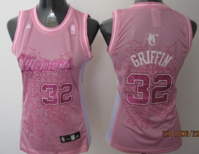 Los Angeles Clippers #32 Blake Griffin Pink Womens Jersey