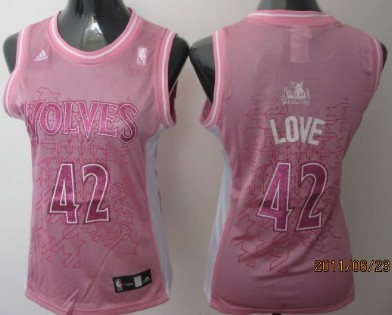 Minnesota Timberwolves 42 Kevin Love Pink Womens Jersey On Sale