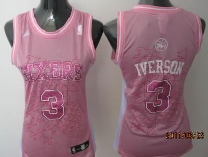 Philadelphia 76ers #3 Allen Iverson Pink Womens Jersey