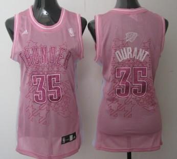 Oklahoma City Thunder #35 Kevin Durant Pink Womens Jersey