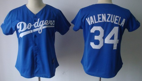 fac48a481 Los Angeles Dodgers  34 Fernando Valenzuela Blue Womens Jersey on ...