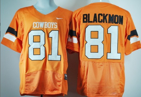 Oklahoma State Cowboys #81 Justin Blackmon Orange Pro Combat Jersey
