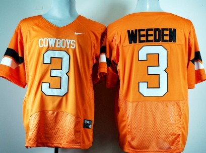 Oklahoma State Cowboys #3 Brandon Weeden Orange Pro Combat Jersey