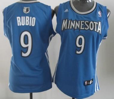 Minnesota Timberwolves #9 Ricky Rubio Blue Womens Jersey
