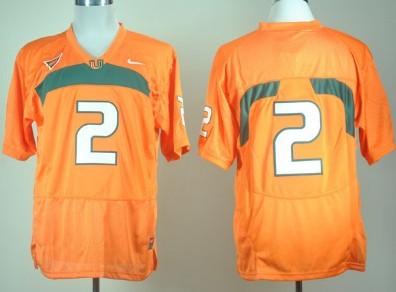 Miami Hurricanes #2 With No Name Orange Jersey