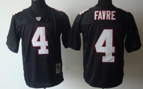 super popular 38631 cf4b6 Atlanta Falcons #4 Brett Favre Black Throwback Jersey on ...