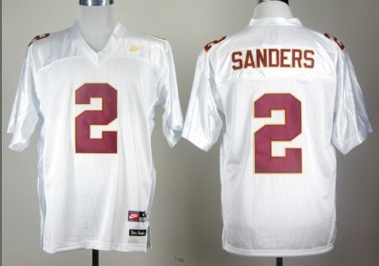 brand new 15e4b 227f5 Florida State Seminoles #2 Deion Sanders White Jersey on ...