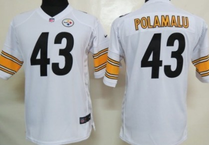 5e232012b Nike Pittsburgh Steelers  43 Troy Polamalu White Game Kids Jersey on ...