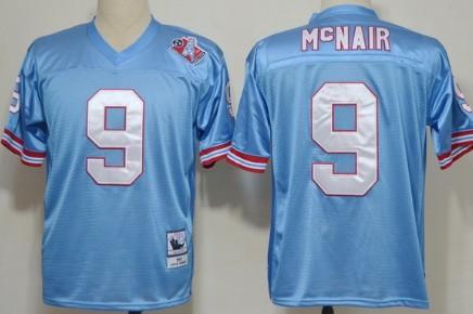 pretty nice cb074 a5209 Houston Oilers #9 Steve McNair Light Blue Throwback Jersey ...