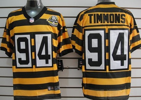 fc6934d2356 Nike Pittsburgh Steelers  94 Lawrence Timmons Yellow With Black Throwback  80TH Jersey