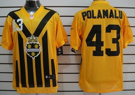 the best attitude 8ef68 8da1c Nike Pittsburgh Steelers #43 Troy Polamalu 1933 Yellow ...
