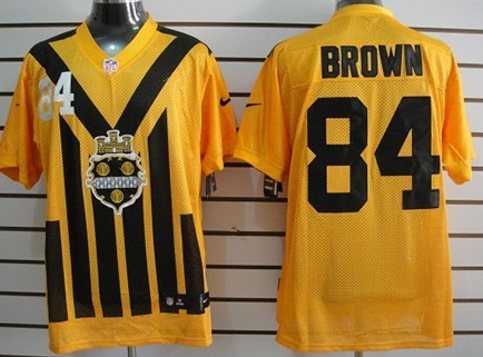 1d2c7e657 Nike Pittsburgh Steelers  84 Antonio Brown 1933 Yellow Throwback Jersey