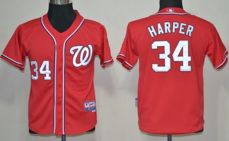 uk availability 7e085 07560 Washington Nationals #34 Bryce Harper Red Kids Jersey on ...