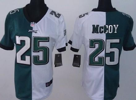 nike philadelphia eagles 25 lesean mccoy dark green white two tone womens jersey