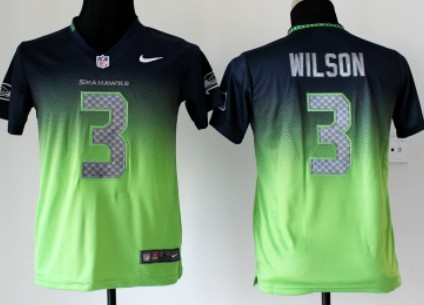 4218fd108 Nike Seattle Seahawks #3 Russell Wilson Navy Blue/Green Fadeaway Kids Jersey