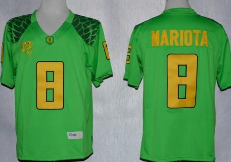 quality design ebe10 d56e9 Oregon Ducks #8 Marcus Mariota 2013 Light Green Limited ...