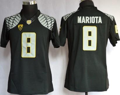 Oregon Ducks #8 Marcus Mariota 2013 Black Limited Womens Jersey