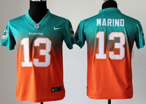 big sale cba78 6cbd4 Nike Miami Dolphins #13 Dan Marino Green/Orange Fadeaway ...